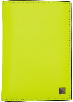 Valentino Yellow Garavani Rockstud Pocket Organizer