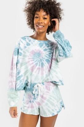 francesca's Gracelyn Tie-Dye Lounge Sweat Shorts - Multi