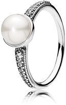 Pandora Ring - Sterling Silver, Cubic Zirconia & Cultured Freshwater Pearl Elegant Beauty