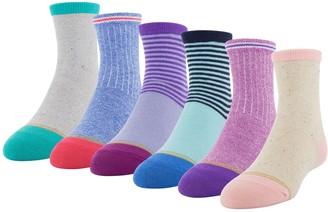 Gold Toe Girls GOLDTOE 6-Pack Shorty Crew Socks
