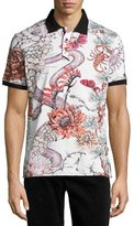 Just Cavalli Floral & Snake Polo Shirt, White