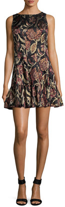 Anna Sui Lame Flounce Hem Mini Dress