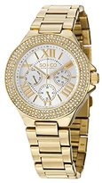 SO&CO New York Women's 5019.3 Madison Day and Date Crystal-Accented 23K Gold-Tone Stainless Steel Link Bracelet Watch