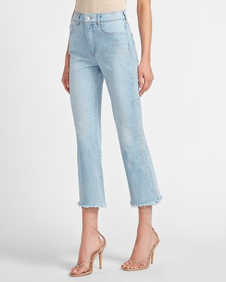 Express High Waisted Faded Frayed Hem Cropped Flare Jeans