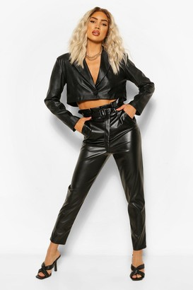 boohoo Paperbag Waist Faux Leather Slim Fit Pants