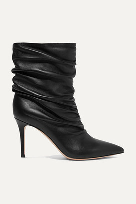 Gianvito Rossi Cecile 85 Ruched Leather Ankle Boots - Black