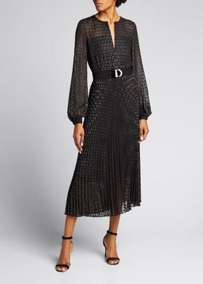 Akris Punto Silver Dotted Long-Sleeve Belted Midi Dress