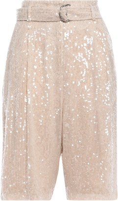 Sally LaPointe Belted Pleated Sequin-embellished Georgette Shorts