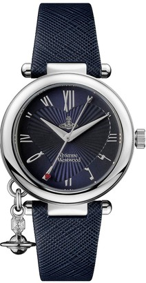 Vivienne Westwood Orb Heart Blue and Silver Detail Charm Dial Blue Leather Strap Ladies Watch