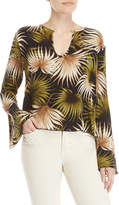 Catherine Malandrino Silk Palm Leaf Keyhole Bell Sleeve Top