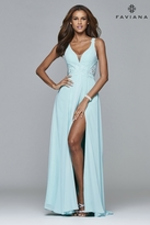 Faviana 7941 Long full chiffon dress with lace detailing