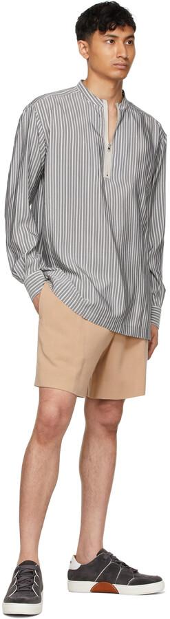 Thumbnail for your product : Ermenegildo Zegna Couture Grey & White Silk Striped Shirt