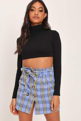 I SAW IT FIRST Blue Checked Button Front Paperbag Skirt