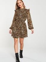 Very Leopard Shirred Yoke Tea Dress - Print
