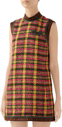 Gucci Checked Tweed Shift Dress