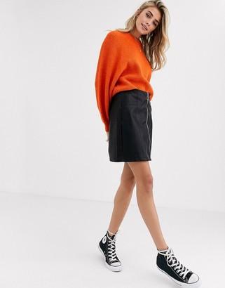 New Look zip through leather look mini skirt in black