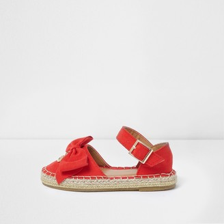 River Island Mini girls Red bow top espadrille sandals
