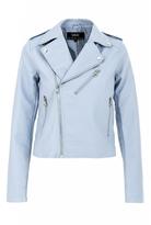 Quiz Light Blue PU Biker Jacket