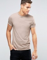 Asos Muscle T-Shirt With Roll Sleeve In Beige