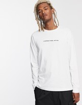Diesel T-Just embroidered copy text long sleeve t-shirt in white