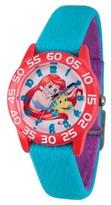 Disney Girls' Princess Ariel Red Plastic Time Teacher Watch - Blue