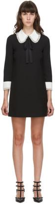 RED Valentino Black Crepe Frill Collar Dress