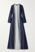 Thumbnail for your product : Reem Acra Embellished Layered Mikado-pique Gown - Blue