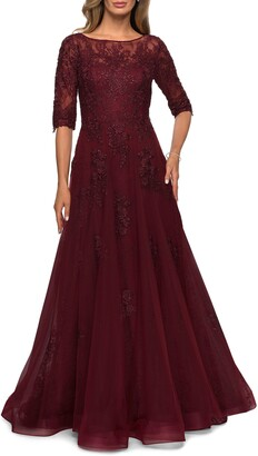 La Femme Floral Lace & Tulle Gown