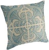 "Cotton Linen Decorative Throw Pillow Case Cushion Cover (Blue Floral) 18 ""X18"""