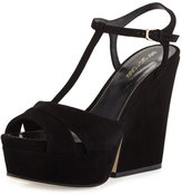Sergio Rossi Edwige Suede T-Strap Wedge Sandal, Black