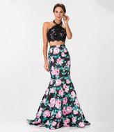 Unique Vintage Black Sexy Lace Floral Print Two Piece Gown