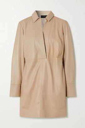Equipment Riannon Leather Mini Dress - Beige