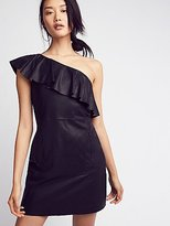 Free People Natalie One Shoulder Leather Mini Dress