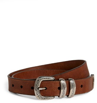 Brunello Cucinelli Ribbed Leather Belt