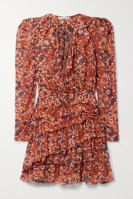 Ulla Johnson Cecily Floral-print Fil Coupe Silk And Lurex-blend Mini Dress - Orange