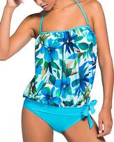 Zesica Women's Bikini Bottoms Bluish - Blue Floral Bandeau Tankini Top & Bottoms - Women & Plus