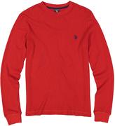 U.S. Polo Assn. Red Waffle-Knit Long-Sleeve Tee