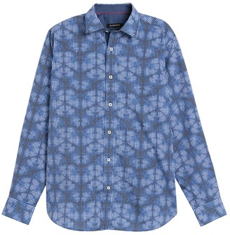 Bugatchi Abstract Gingham Trim Fit Shirt