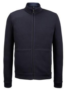 HUGO BOSS Zip Through Sweatshirt In Double Faced Melange Cotton - Dark Blue