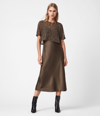 AllSaints Reille Grid 2-In-1 Dress
