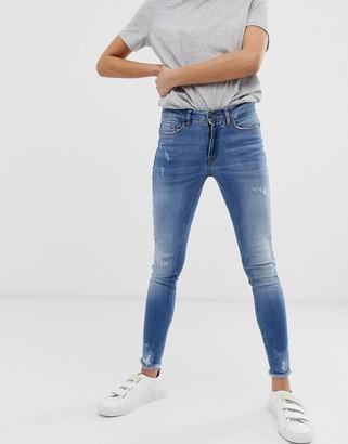 Ichi destroyed skinny jeans-Blue
