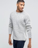 Bellfield Flecked Cable Knitted Sweater