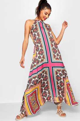 boohoo Lo Bohemian Scarf Print High Neck Hanky Hem Maxi Dress