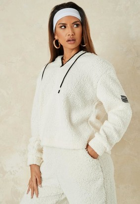 Missguided Borg Contrast Toggle Oversized Hoodie