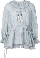 Zimmermann striped frill neck blouse - women - Linen/Flax - 0