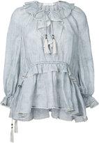 Zimmermann striped frill neck blouse - women - Linen/Flax - 1