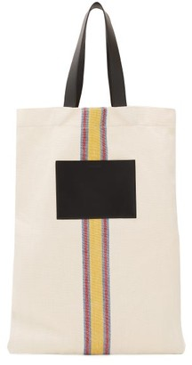 Jil Sander Striped Linen-canvas And Leather Tote Bag - White Multi
