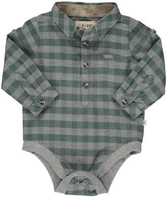 Me & Henry Boy's Cotton Plaid Collared Long-Sleeve Bodysuit, Size 6-24M