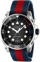 Gucci Men's Swiss Dive Blue-Red-Blue Nylon Nato Strap Watch 44mm YA136210