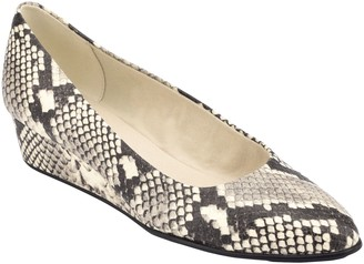 Easy Spirit Snakeskin Print Pointed Toe Wedges- Abelle